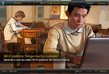 Security Mentor Public WiFi lesson shown with Spanish (LatAm) localization