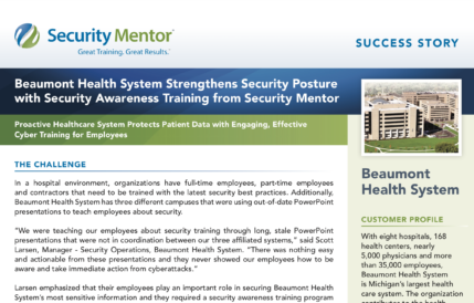Security Mentor Case Study with Beaumont Health