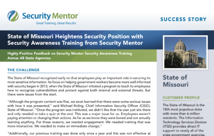 Security Mentor Case Study with the State of Missouri