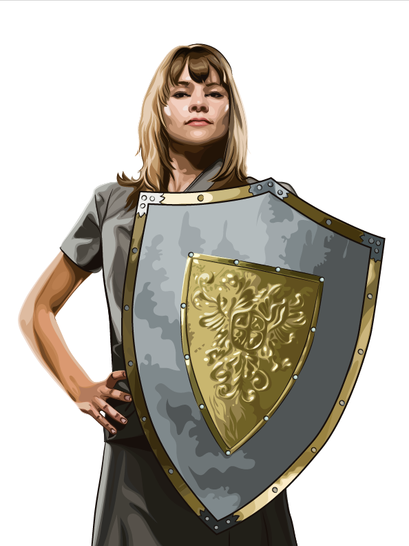 Security Mentor illustration of woman with shield representing employees as the best cyber defense